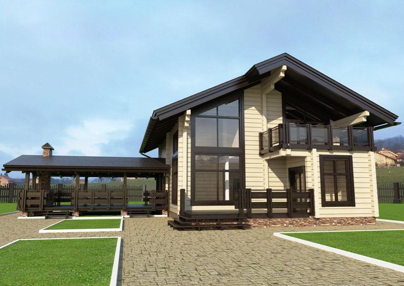 Проект дома из клееного бруса 257 м2