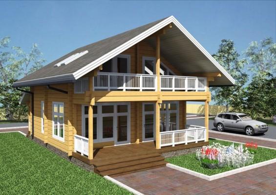 Проект дома из клееного бруса 132 м2